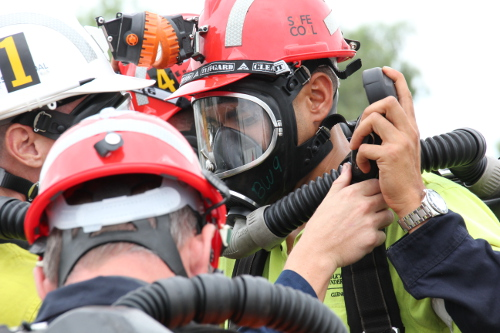 Mines rescue personnel wearing protective equipment